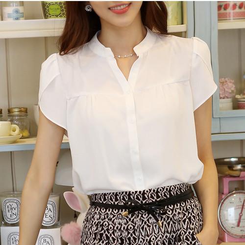女士白色短袖衬衫 夏季韩版女士短袖白色衬衫 V领职业衬衣女夏 宽松版雪纺衫泡泡袖_推荐淘宝好看的女白色短袖衬衫