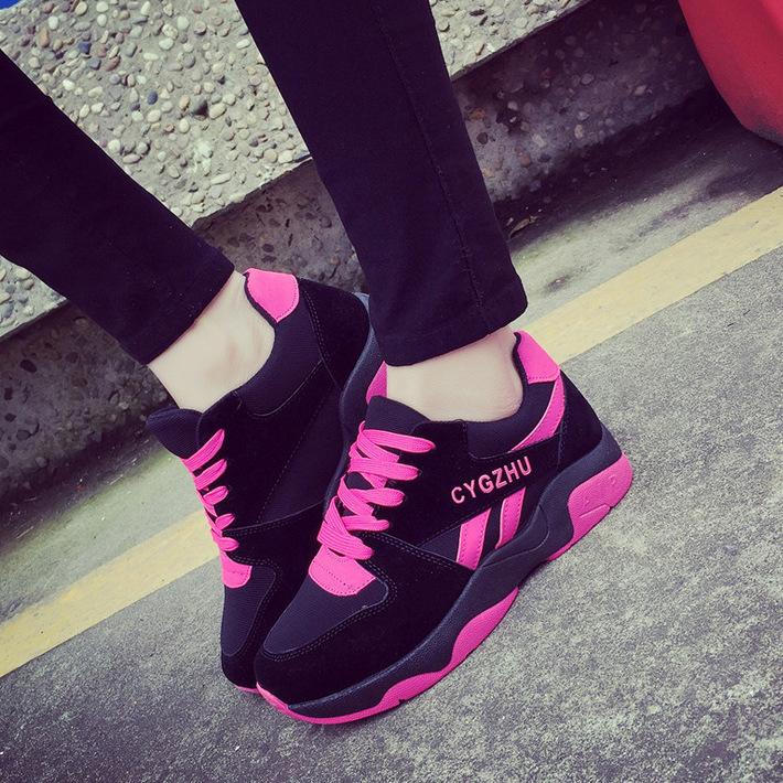 紫色运动鞋 运动鞋女春秋季新款2017百搭韩版潮学生个性跑步平底休闲玫红紫色_推荐淘宝好看的紫色运动鞋