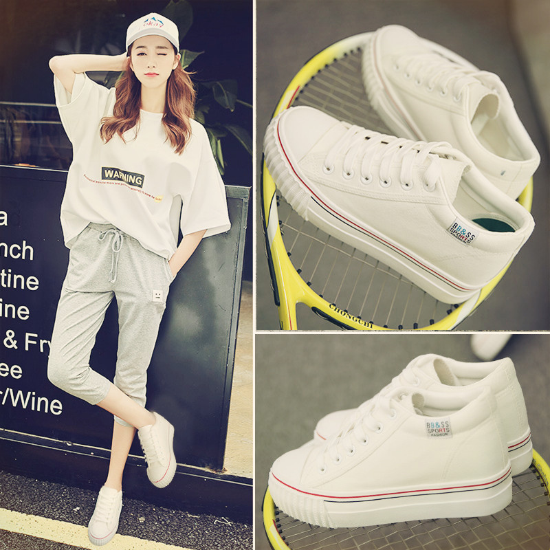 白色松糕鞋 秋季松糕鞋厚底白色帆布鞋女内增高小白鞋韩版球鞋板鞋学生休闲鞋_推荐淘宝好看的白色松糕鞋