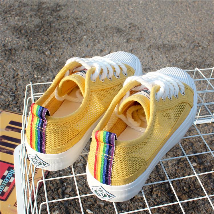 黄色帆布鞋 2017新款夏季网纱镂空帆布鞋女平底透气韩版学生百搭黄色港风板鞋_推荐淘宝好看的黄色帆布鞋