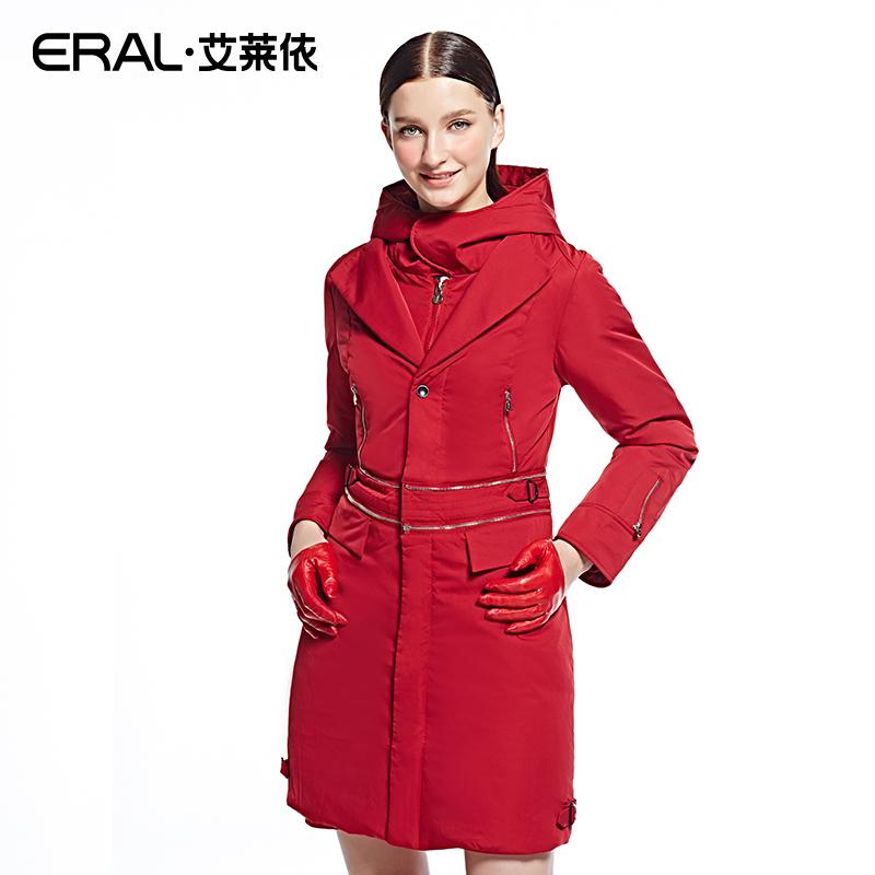 艾莱依羽绒服 ERAL艾莱依长款修身拉链羽绒服两穿女装外套AFA7016-QC_推荐淘宝好看的女艾莱依羽绒服