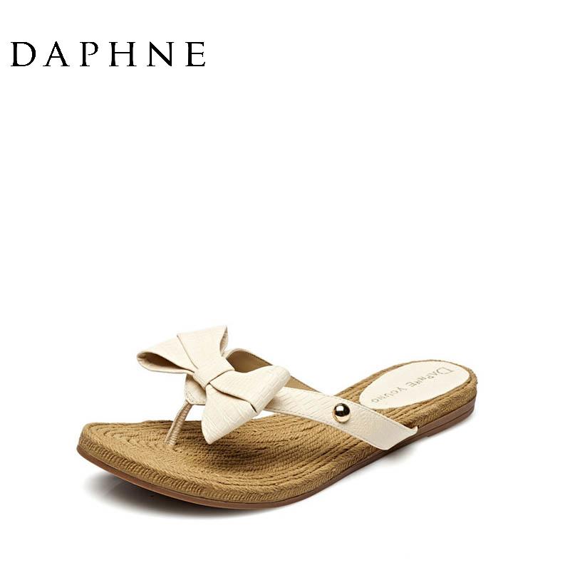 达芙妮罗马鞋 Daphne达芙妮夏季女拖鞋 蝴蝶结平底低跟罗马凉拖鞋1515303007_推荐淘宝好看的达芙妮罗马鞋