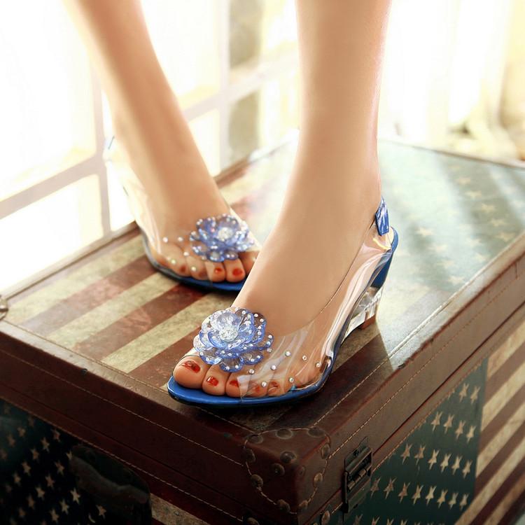 果冻坡跟鞋 夏复古透明水晶坡跟塑料凉鞋胶鞋加大码凉鞋果冻鞋沙滩鞋凉鞋女_推荐淘宝好看的果冻坡跟鞋