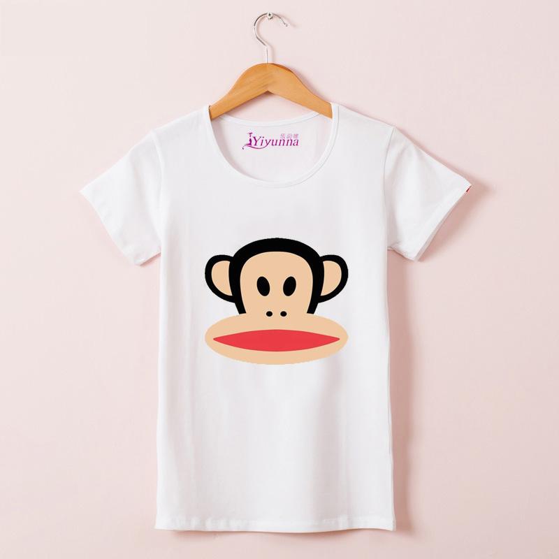 女士大嘴猴t恤 39包邮新款韩体恤衣服T桖版紧身纯棉大嘴卡通短袖猴子t恤女夏_推荐淘宝好看的女大嘴猴t恤