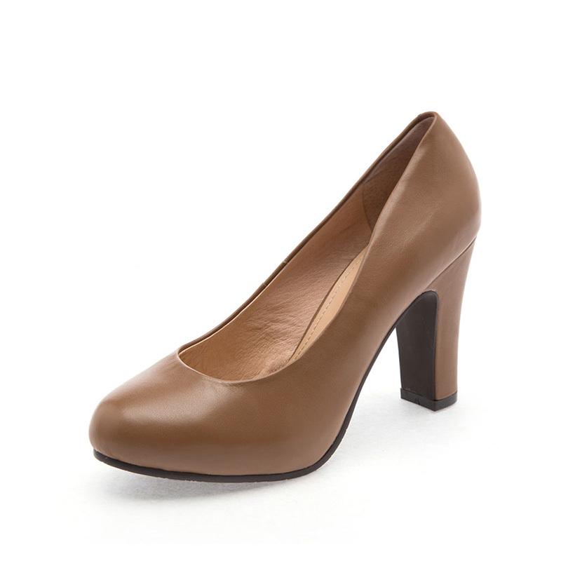 达芙妮单鞋 Daphne达芙妮正品专柜3年春女鞋头层牛皮粗跟浅口单鞋1013404087_推荐淘宝好看的女达芙妮单鞋