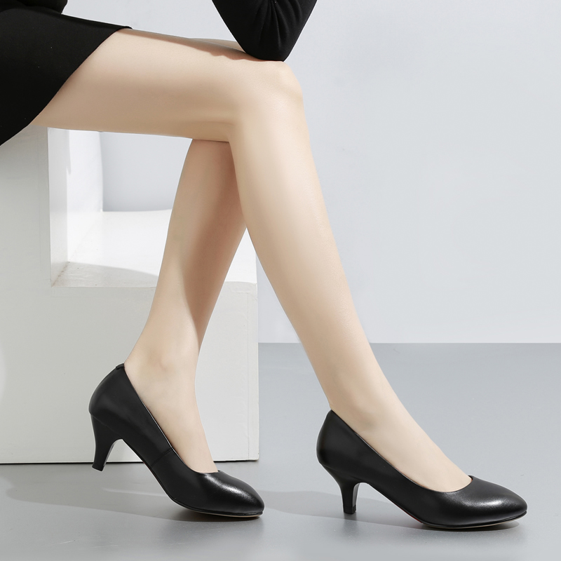 高跟单鞋 真皮单鞋大码上班工作鞋黑色女士皮鞋牛皮高跟鞋33-42码女鞋大号_推荐淘宝好看的女高跟单鞋
