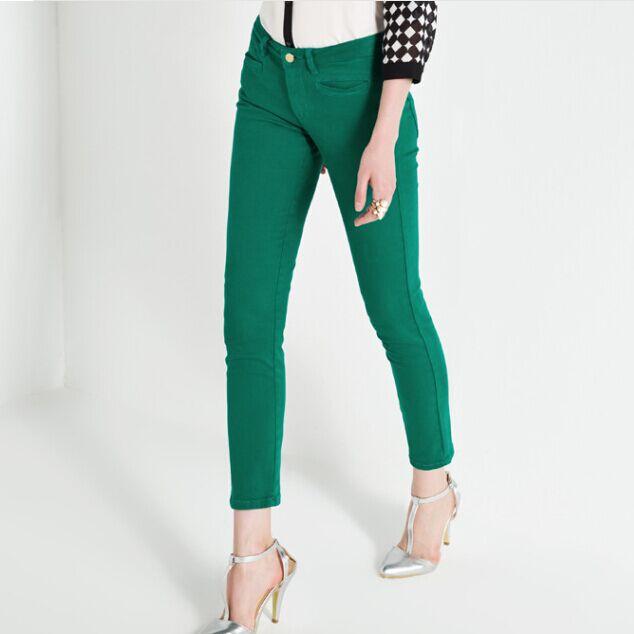 绿色牛仔裤 女装正品剪标2017冬装新款彩色牛仔裤小脚裤女裤A1HA34109_推荐淘宝好看的绿色牛仔裤