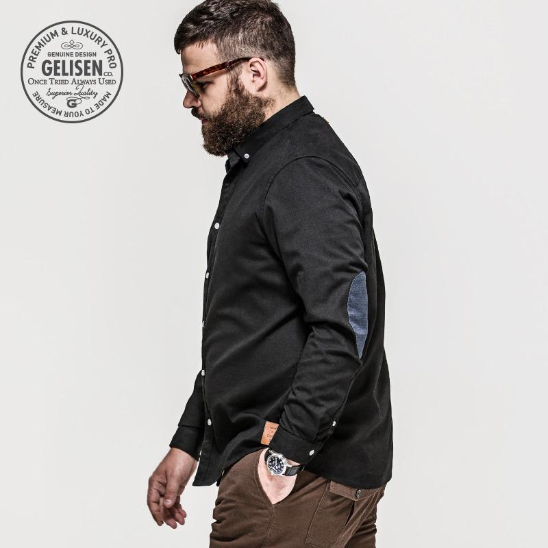 黑色衬衫 格里森商务大码男装黑色衬衫男长袖全棉胖子衬衣宽松胖男人秋装_推荐淘宝好看的黑色衬衫
