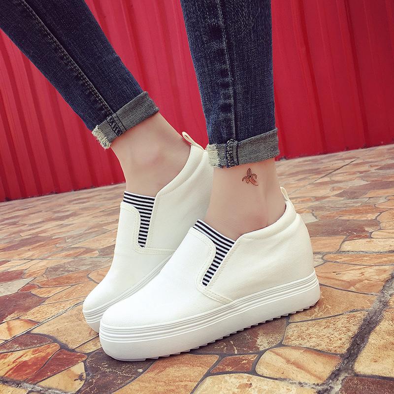 白色松糕鞋 厚底内增高帆布鞋女士布鞋白色球鞋松糕休闲鞋学生板鞋春季小白鞋_推荐淘宝好看的白色松糕鞋