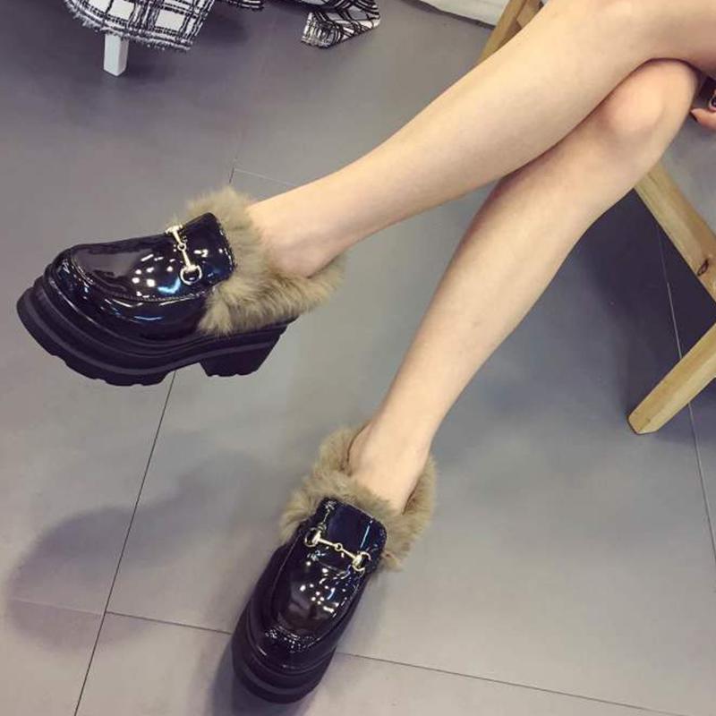 松糕厚底鞋女单鞋 2016新款厚底鞋女松糕跟保暖单鞋圆头中跟韩版学生毛毛鞋漆皮女鞋_推荐淘宝好看的女松糕厚底鞋女单鞋