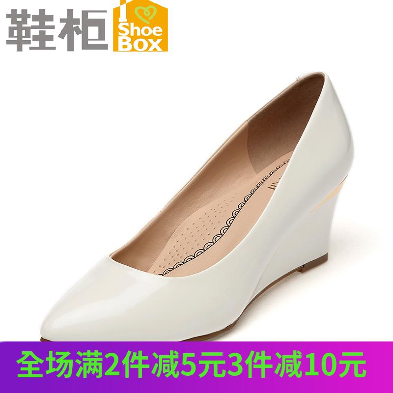 尖头高跟单鞋 SHOEBOX鞋柜尖头高跟女鞋 欧美通勤OL坡跟单鞋1115101210_推荐淘宝好看的女尖头高跟单鞋