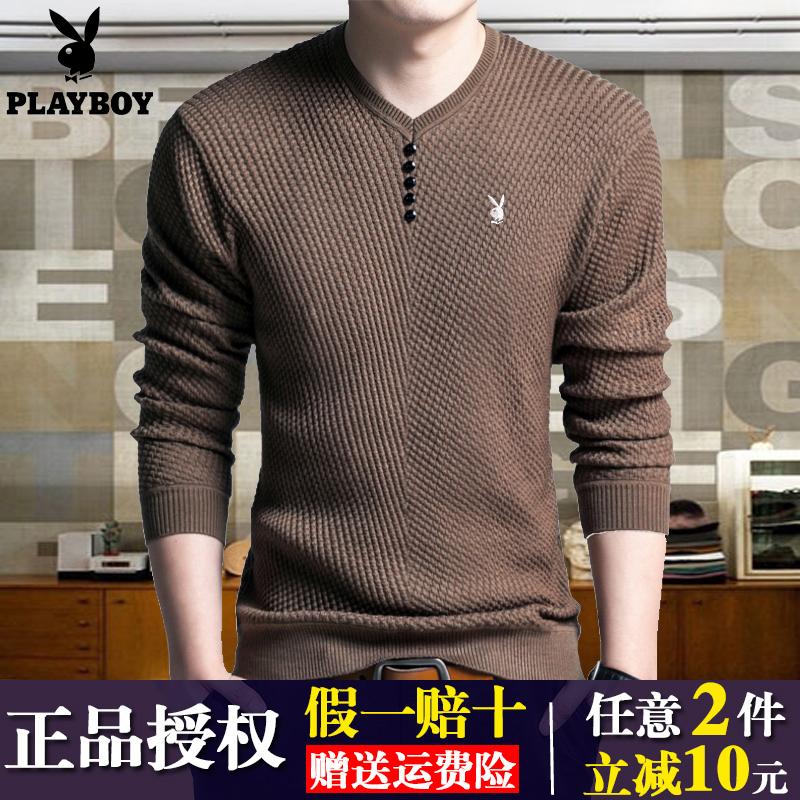 红色T恤 秋冬季青年男士V领长袖T恤纯色韩版修身针织羊毛衫中年毛衣打底衫_推荐淘宝好看的红色T恤