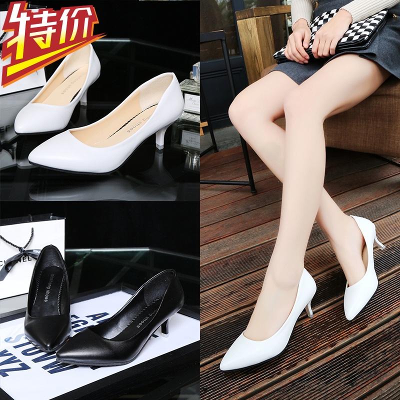 白色高跟鞋 浅口高跟鞋细跟白色尖头单鞋女中跟女鞋黑色百搭职业鞋白领工作鞋_推荐淘宝好看的白色高跟鞋