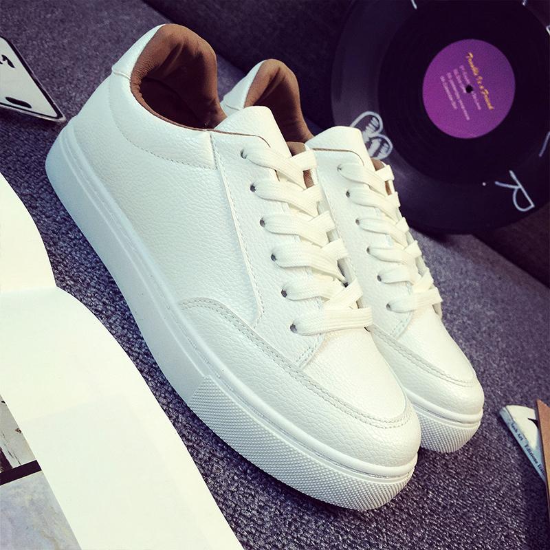 白色帆布鞋 皮面小白鞋系带白色运动帆布鞋女韩版休闲女鞋平底学生板鞋单鞋秋_推荐淘宝好看的白色帆布鞋