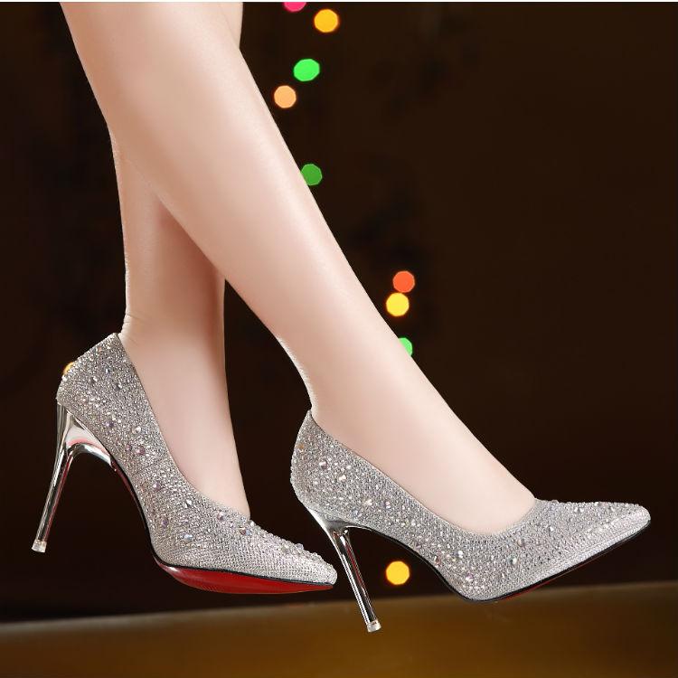 百丽尖头鞋 蜀姬 百丽新款高跟婚鞋细跟女鞋银色红色尖头新娘鞋婚纱水钻单鞋_推荐淘宝好看的女百丽尖头鞋