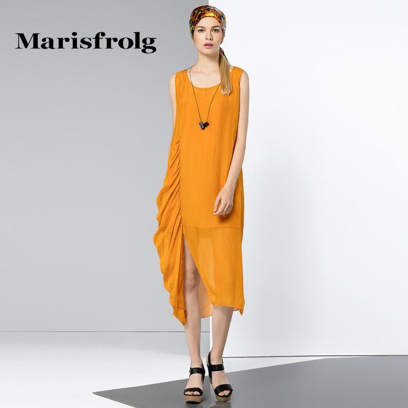 玛丝菲尔女装正品 Marisfrolg玛丝菲尔 飘逸无袖真丝连衣裙 专柜正品夏季新款女装_推荐淘宝好看的玛丝菲尔正品