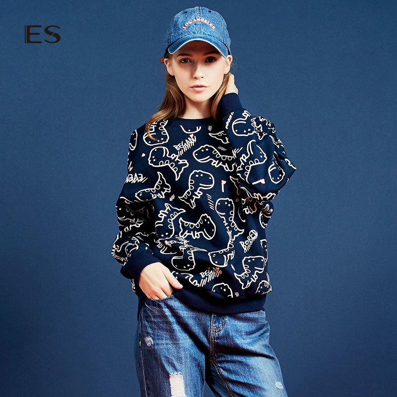 艾格女装 艾格 ES 2016 冬新品可爱恐龙套头卫衣160328726_推荐淘宝好看的艾格