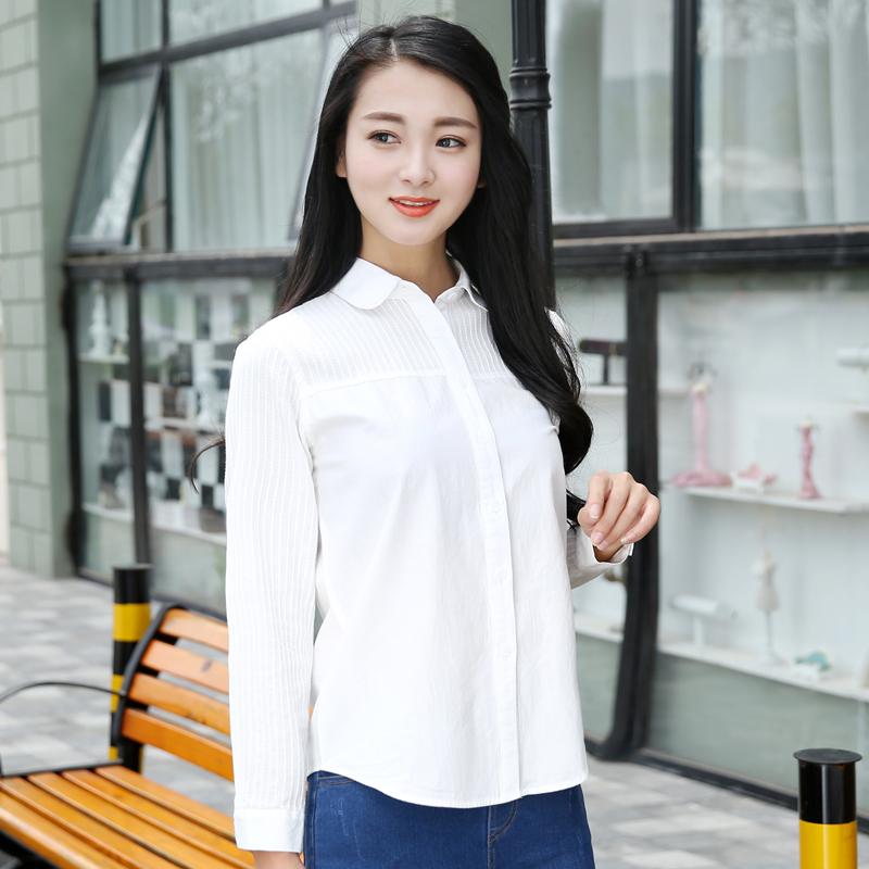短袖衬衣 春装女士纯棉纯色韩版女装白色衬衫职业百搭休闲长袖短袖衬衣上衣_推荐淘宝好看的女短袖衬衣