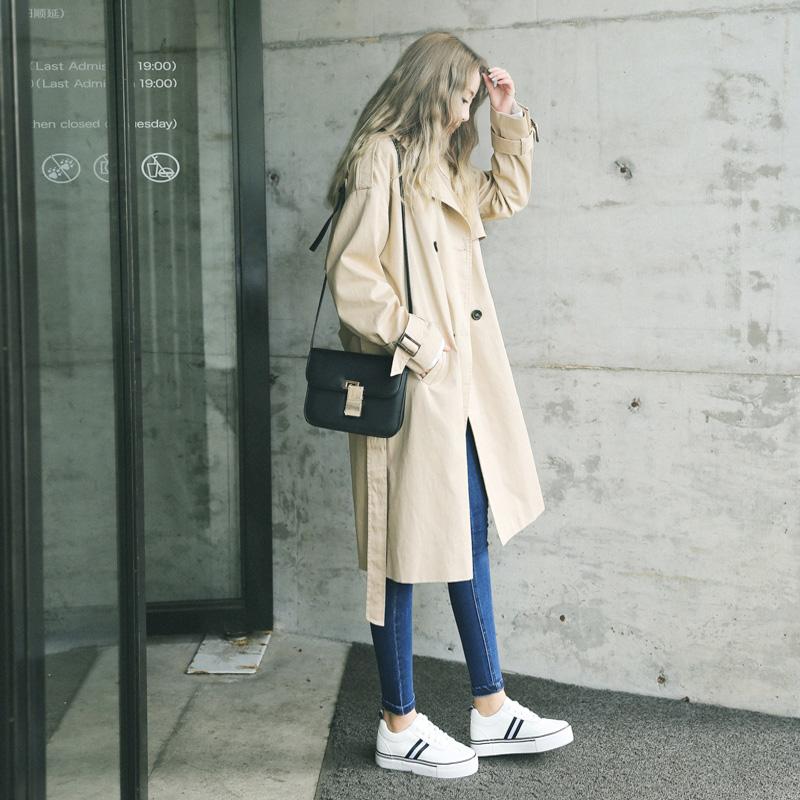 女士风衣外套 RABBITSTYLE 自制款 重磅推荐中长双排扣腰带大翻领风衣外套女_推荐淘宝好看的女风衣外套