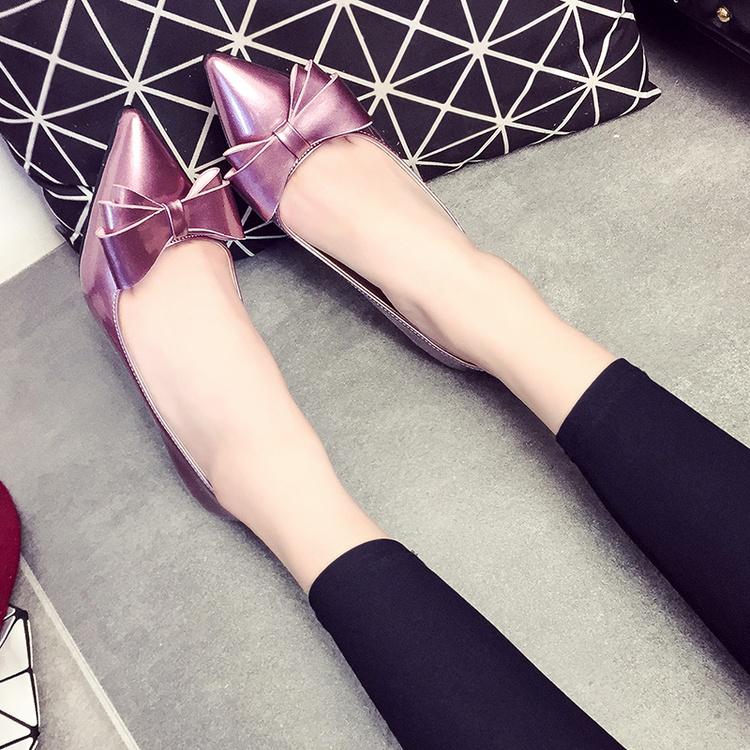 紫色单鞋 细跟皮鞋女夏2017新款春秋显瘦蝴蝶结学生3-5cm紫色浅口高跟单鞋_推荐淘宝好看的紫色单鞋