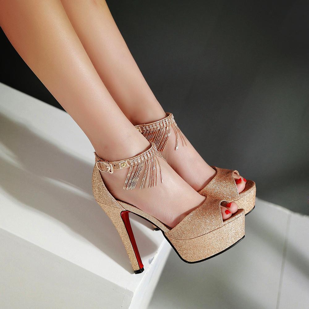 红色鱼嘴鞋 夏季女士凉鞋女鱼嘴鞋红色婚鞋新娘鞋宴会晚礼服婚纱鞋超高跟女鞋_推荐淘宝好看的红色鱼嘴鞋