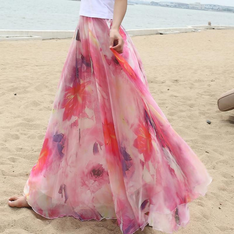 波西米亚拖地长裙半身裙 艾斯维雅半身长裙沙滩拖地半身裙夏波西米亚8米大摆雪纺裙仙女裙_推荐淘宝好看的波西米亚拖地长裙半身裙