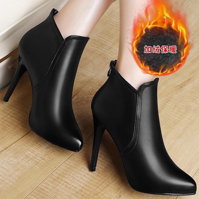 新款高跟鞋 2016秋冬季新款女靴加绒短靴女鞋子尖头细跟短筒靴子单靴高跟鞋潮_推荐淘宝好看的女新款高跟鞋