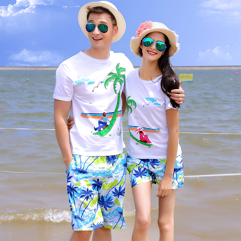 创意情侣t恤 椰子沙滩情侣装上衣创意韩版潮夏装短袖t恤海边度假蜜月男女套装_推荐淘宝好看的女创意情侣t恤