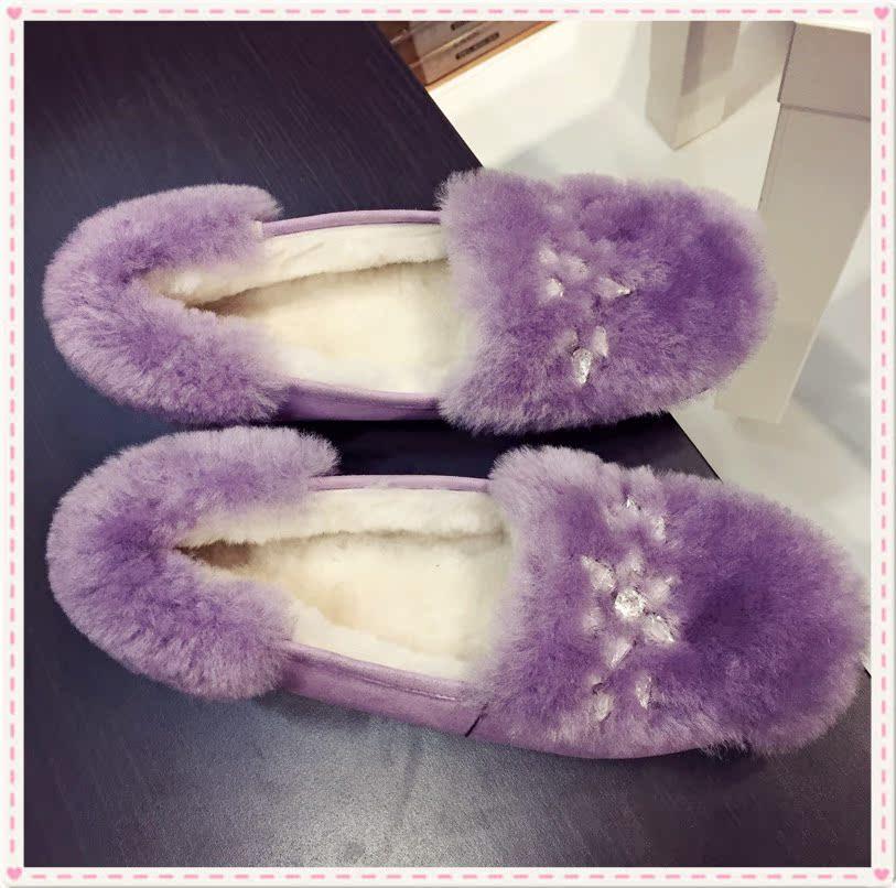 紫色豆豆鞋 冬季韩国小清新甜美紫色水钻平底豆豆鞋超美保暖羊毛女鞋公主单鞋_推荐淘宝好看的紫色豆豆鞋