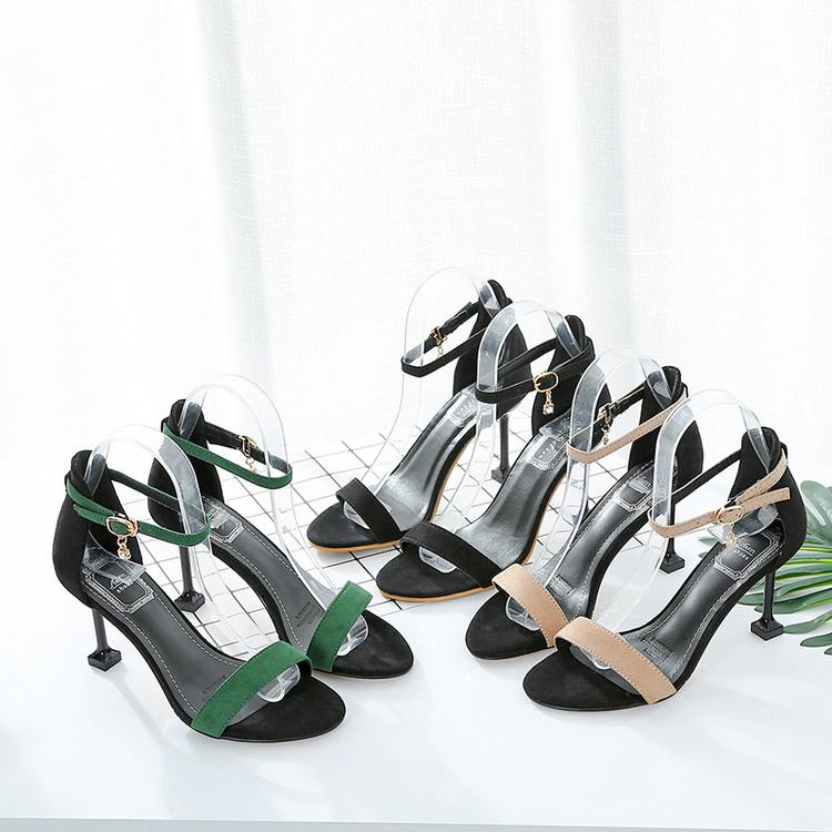 夏季高跟鞋 2017夏季新款细跟露趾凉鞋韩版一字扣百搭高跟鞋性感猫跟女鞋子潮_推荐淘宝好看的女夏季高跟鞋
