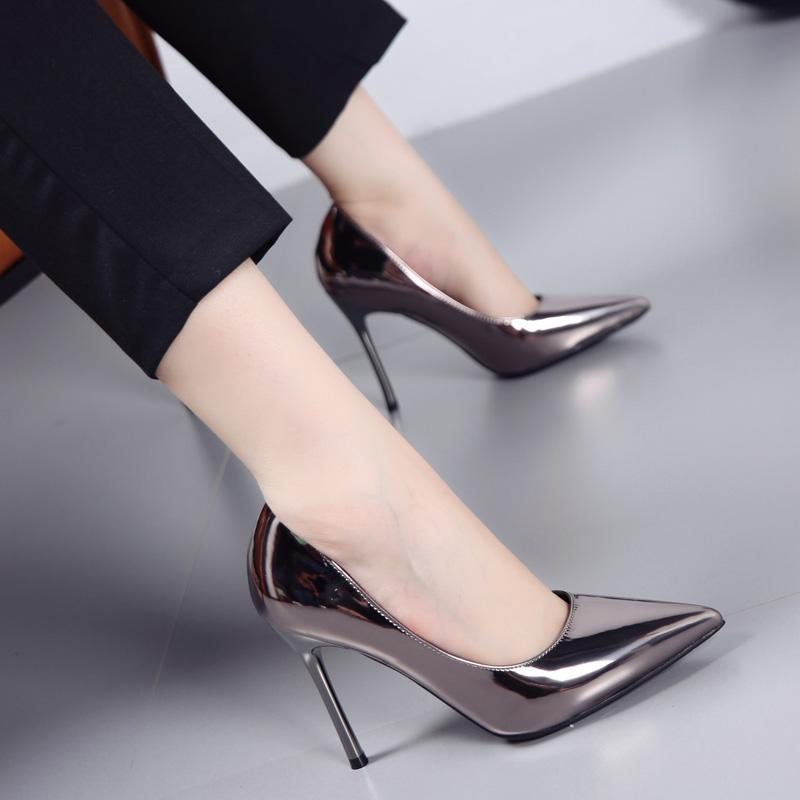 时尚高跟鞋 2017春新款性感尖头细跟高跟鞋浅口漆皮时尚简约枪色OL工作女单鞋_推荐淘宝好看的女时尚高跟鞋