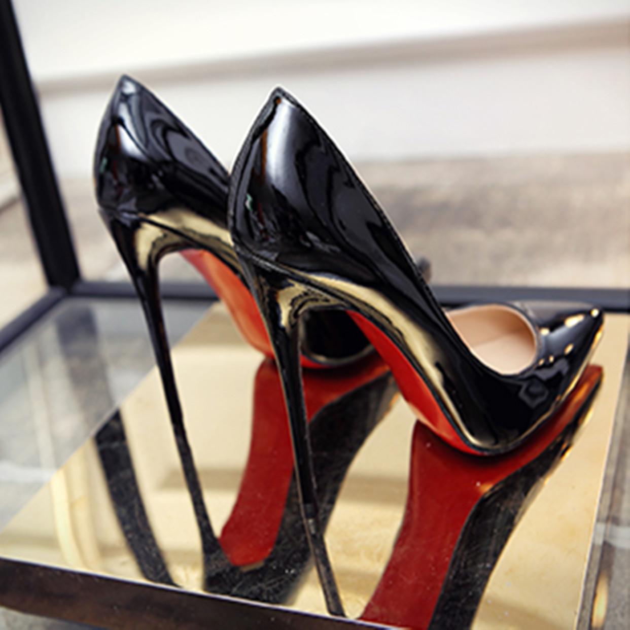 时尚高跟鞋 欧洲站时尚黑色12cm10cm8cm超高跟鞋细跟银色尖头浅口鞋职业女鞋_推荐淘宝好看的女时尚高跟鞋