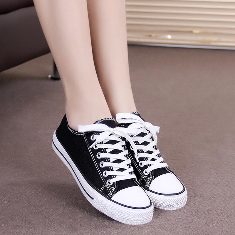 黑色帆布鞋 2017夏季新款黑色帆布鞋女 平跟平底学生低帮休闲鞋布鞋白色球鞋_推荐淘宝好看的黑色帆布鞋