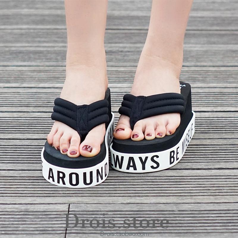 粉红色坡跟鞋 2016新款韩版厚底坡跟人字拖英文时尚女拖鞋防滑舒适黑色粉红包邮_推荐淘宝好看的粉红色坡跟鞋