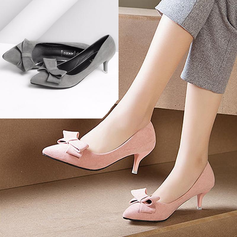 粉红色尖头鞋 高跟鞋蝴蝶结细跟尖头浅口绒面粉红色甜美公主中跟5cm黑色单鞋女_推荐淘宝好看的粉红色尖头鞋