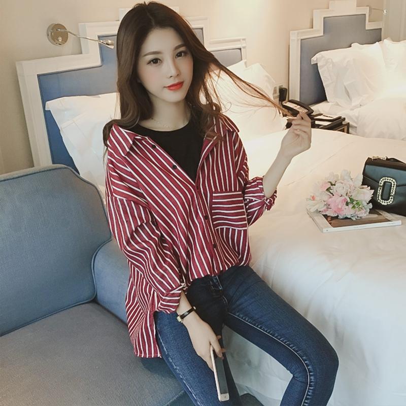 韩版衬衫 春季韩版新款圆领竖条纹衬衫女长袖中长款衬衣宽松假两件上衣外套_推荐淘宝好看的女韩版衬衫