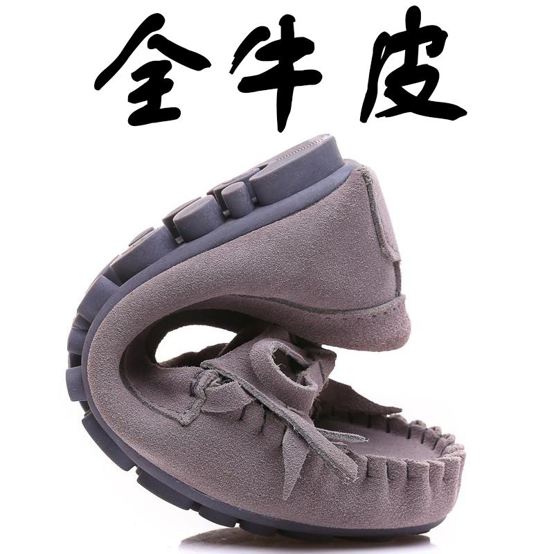 豆豆鞋 2017新款真皮豆豆鞋女夏季百搭韩版黑色平底软底休闲孕妇妈妈单鞋_推荐淘宝好看的女豆豆鞋