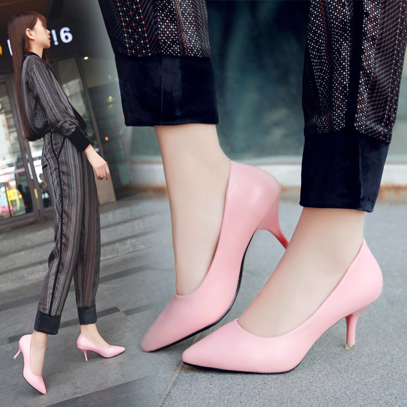 粉红色高跟鞋 32-41春新款粉红色高跟鞋女鞋尖头细跟单鞋5-6-7cm黑色时尚工作鞋_推荐淘宝好看的粉红色高跟鞋