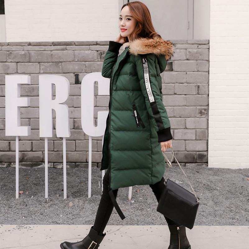 绿色羽绒服 2016冬季新款印花羽绒服女中长款修身加厚宽松过膝韩国大毛领学生_推荐淘宝好看的绿色羽绒服
