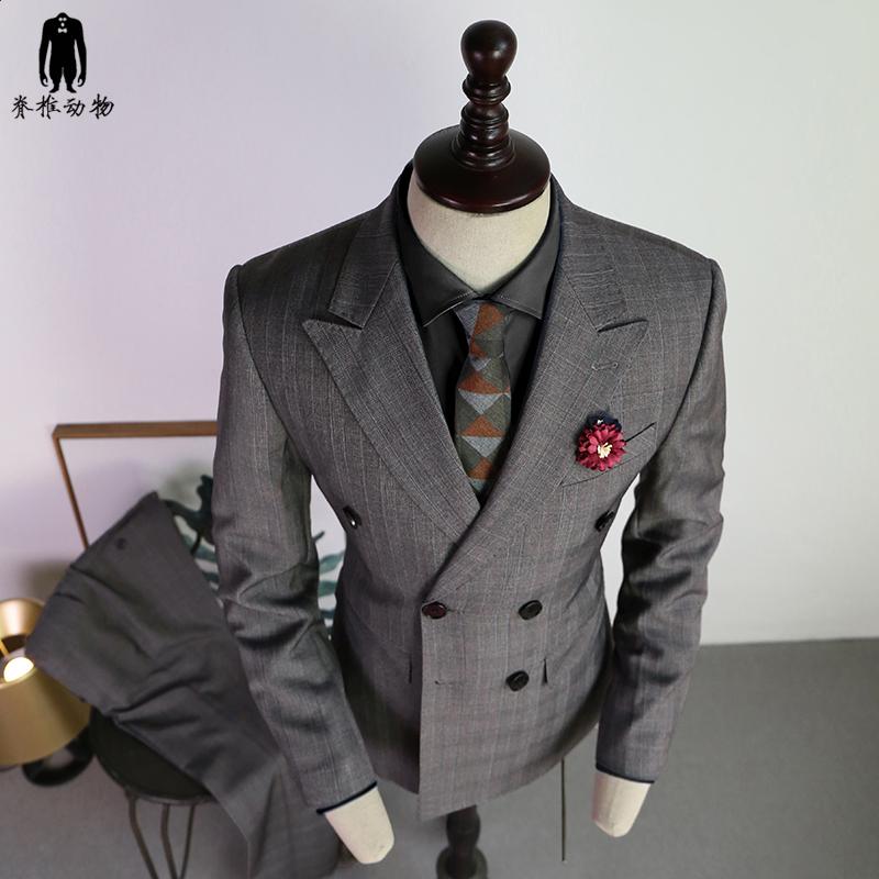 欧美西装男 脊椎动物男装 原创灰色格子修身西装欧美双排扣工作西服结婚礼服_推荐淘宝好看的欧美西装男