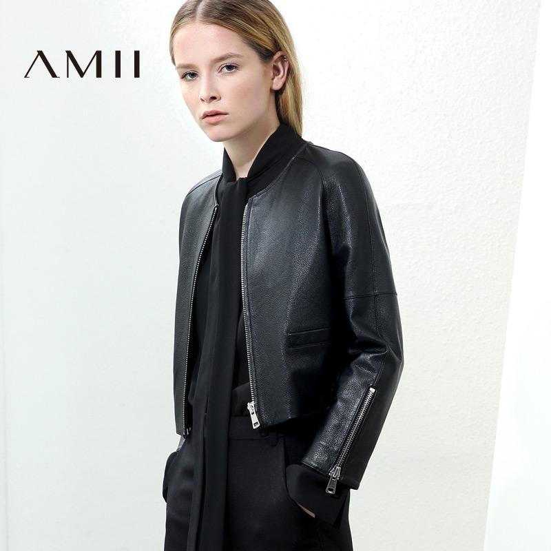 牛皮皮衣 Amii[极简主义]轻奢 头层牛皮皮衣女 冬新品拉链短款长袖直筒外套_推荐淘宝好看的牛皮皮衣女
