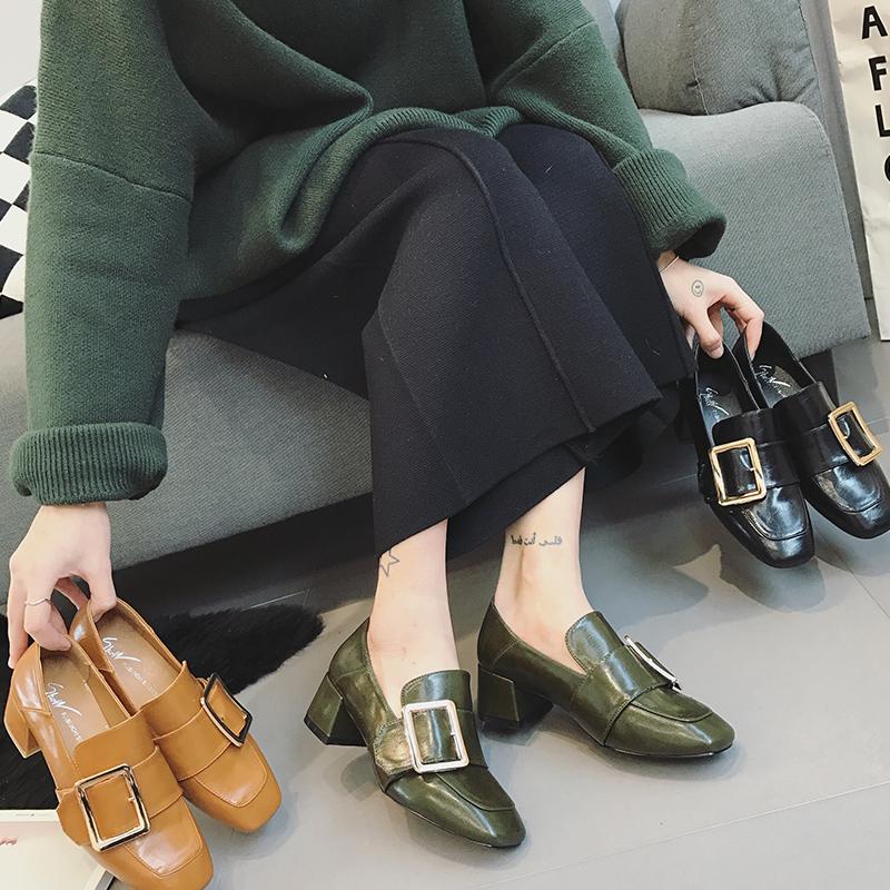 女士豆豆鞋 2017新款韩版中跟粗跟单鞋女春皮带扣豆豆鞋英伦风方头百搭小皮鞋_推荐淘宝好看的女豆豆鞋