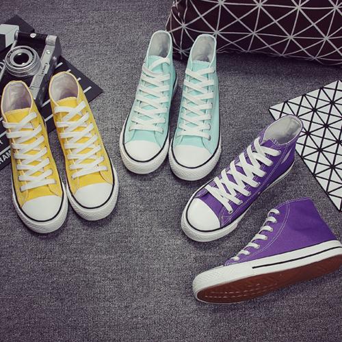 紫色平底鞋 高帮平底女鞋黄色薄荷绿紫色高帮帆布鞋韩版纯色女生休闲鞋四季鞋_推荐淘宝好看的紫色平底鞋