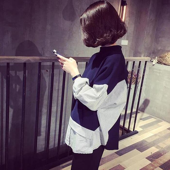 套头卫衣两件套 2016秋装新款韩版宽松长袖条纹拼接立领套头卫衣假两件上衣学生女_推荐淘宝好看的女套头卫衣两件套