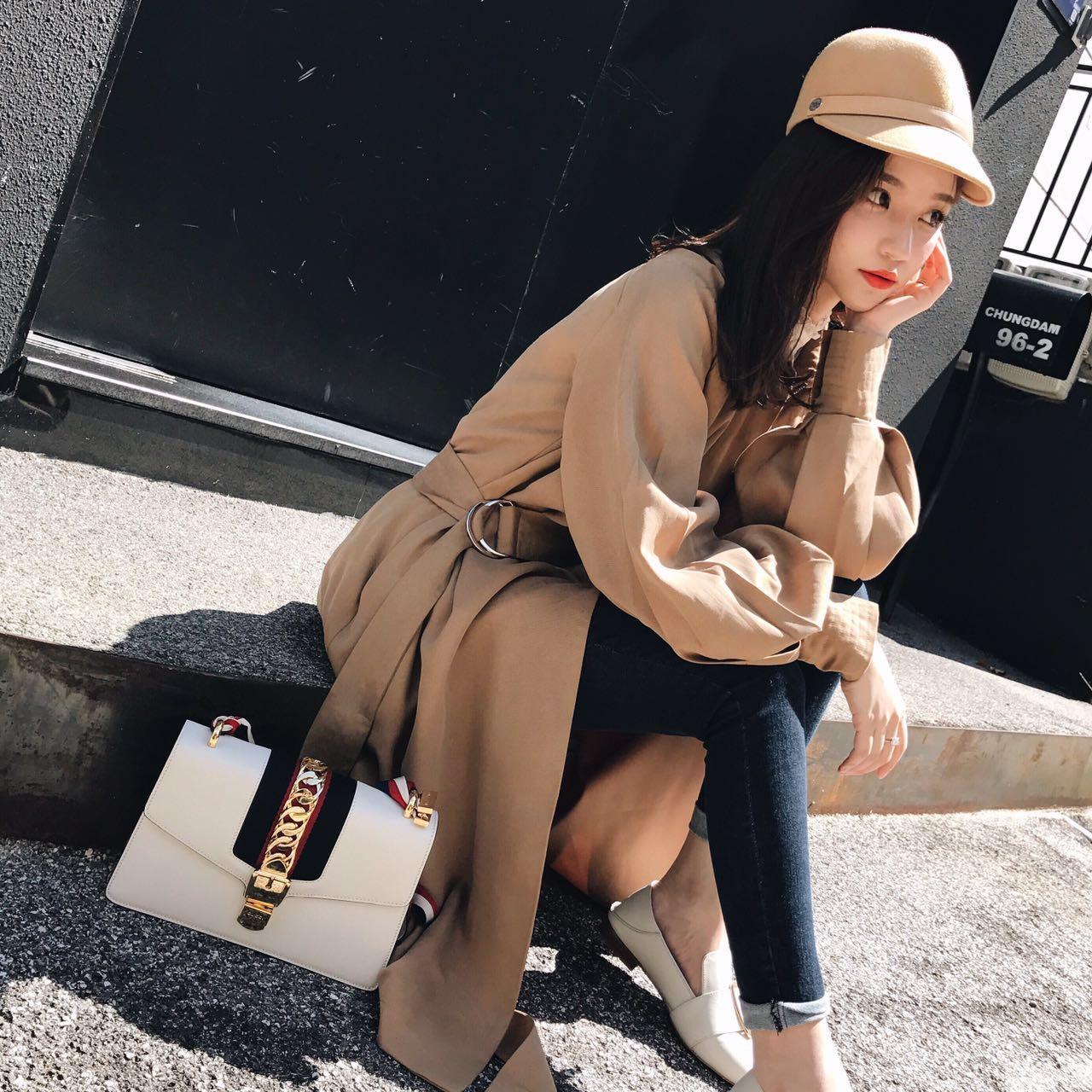 韩版风衣外套 【钱夫人】CHINSTUDIO定制 2016秋装新品韩版咖色风衣外套女长款_推荐淘宝好看的女韩版风衣外套