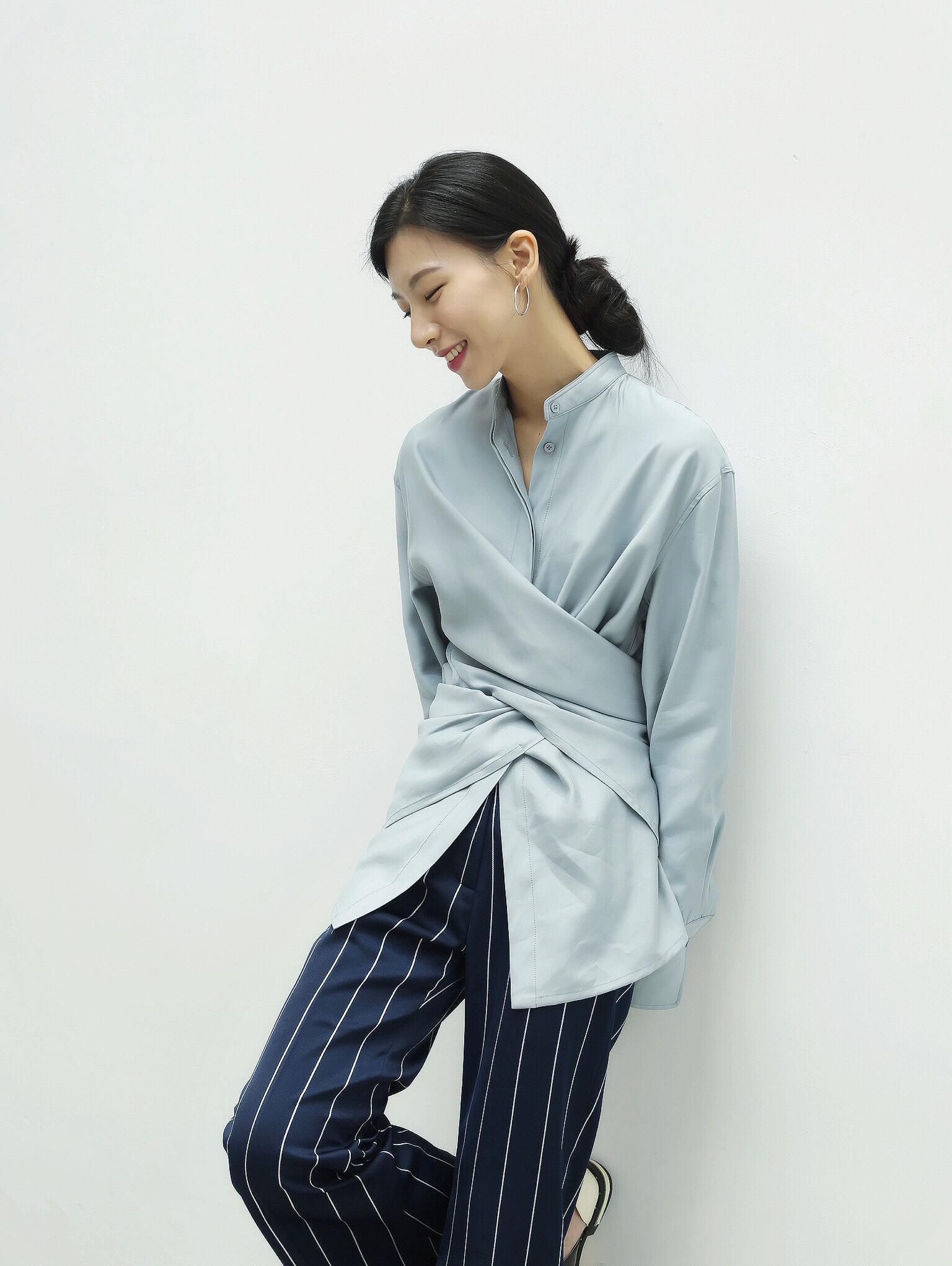 法式衬衫 MISSWU独家自制 灰蓝白色 多穿法设计款衬衫女 交叉绑带随性大气_推荐淘宝好看的女法 衬衫