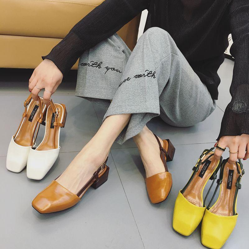 黄色凉鞋 复古玛丽珍鞋一字扣包头凉鞋女夏中跟鞋百搭韩版英伦拼色黄色鞋潮_推荐淘宝好看的黄色凉鞋