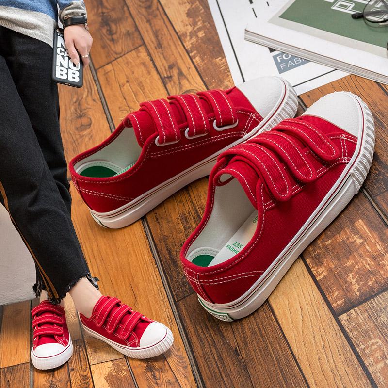 红色帆布鞋 魔法贴红色帆布鞋夏季女2017新款百搭韩版平底魔术贴板鞋女休闲鞋_推荐淘宝好看的红色帆布鞋