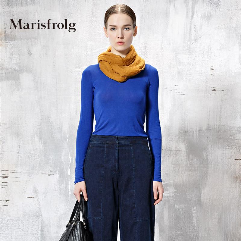 玛丝菲尔正品代购 Marisfrolg玛丝菲尔秋季女装时尚圆领长袖百搭针织上衣专柜正品_推荐淘宝好看的玛丝菲尔