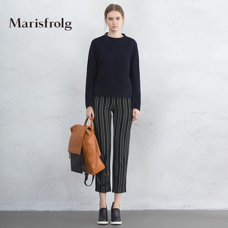 玛丝菲尔女装 Marisfrolg玛丝菲尔女装时尚条纹印花羊毛九分休闲裤秋专柜正品_推荐淘宝好看的玛丝菲尔